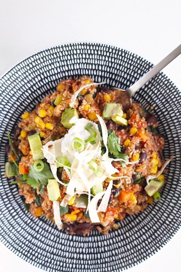 Healthy 100% Vegan One-Pan Mexican Quinoa. #vegan #recipe #quinoa | CrazyVeganKitchen.com
