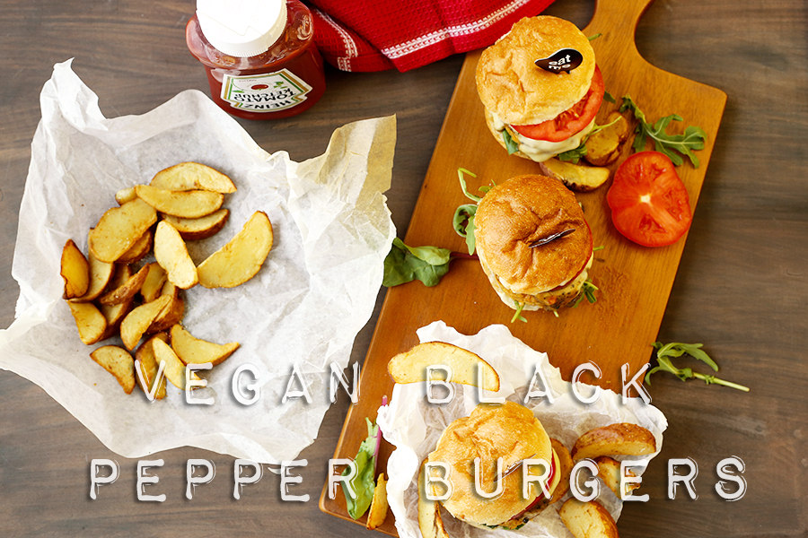 vegan black pepper burgers recipe - delicious and satisfying #veganfood #veganrecipes #simple #healthy #easy