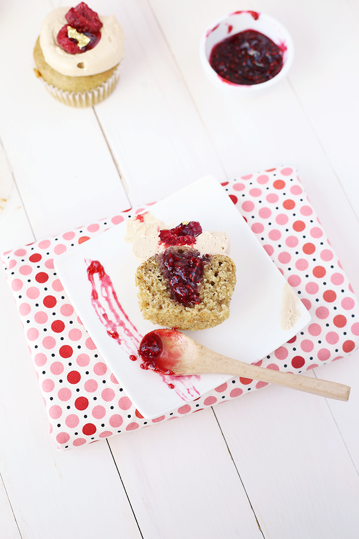 Hazelnut Raspberry Cupcake Recipe. Simple, vegan, delicious, and perfect for kids' birthdays! #delicious #veganrecipe #hazelnut #raspberry #jam #cupcakes #cupcakerecipe #dessert #vegancupcakes